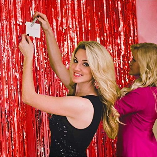 Oldeagle Shimmer Door Curtain & Fringe Garlands Foil Curtains Living Room Party Decoration (Red)