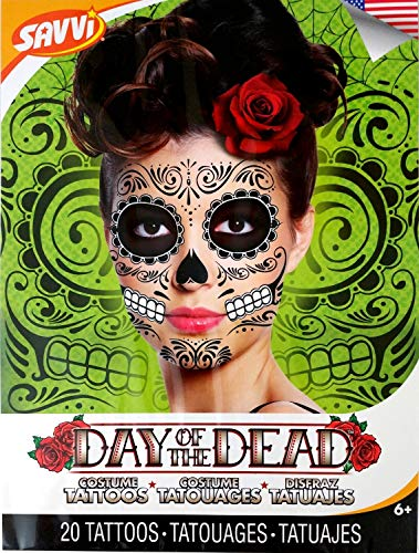 Black Skeleton Day of the Dead Temporary Face Tattoo Kit: Men or Women - 2 Kits ()