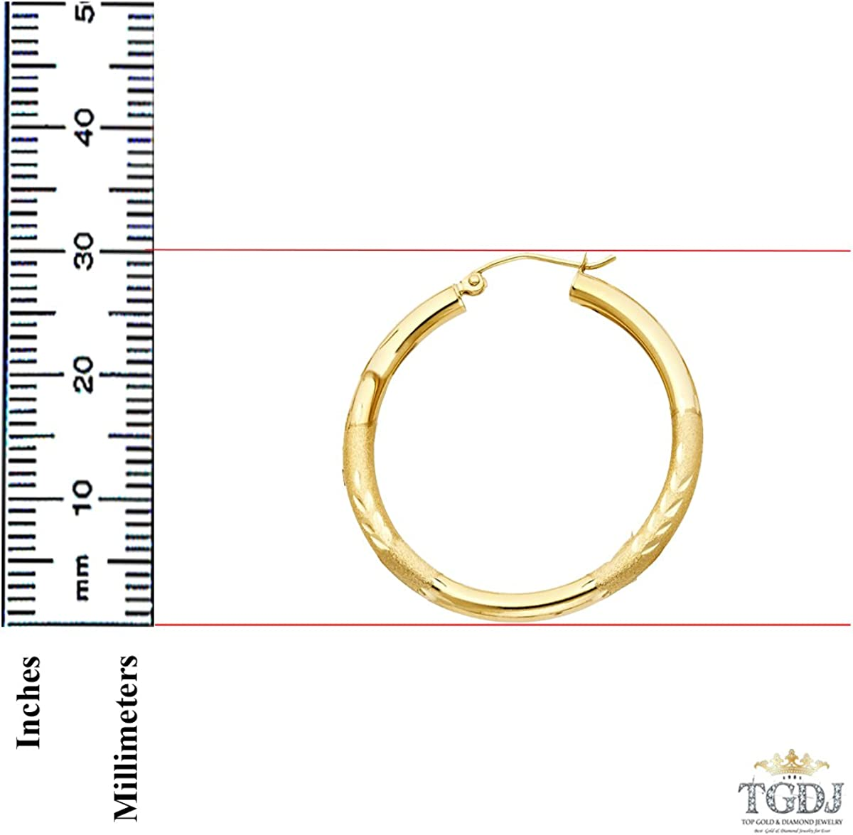14/K Or jaune 3/mm d/épaisseur /à charni/ère Diamant Boucles doreilles cr/éoles/ 30/mm /Diam/ètre