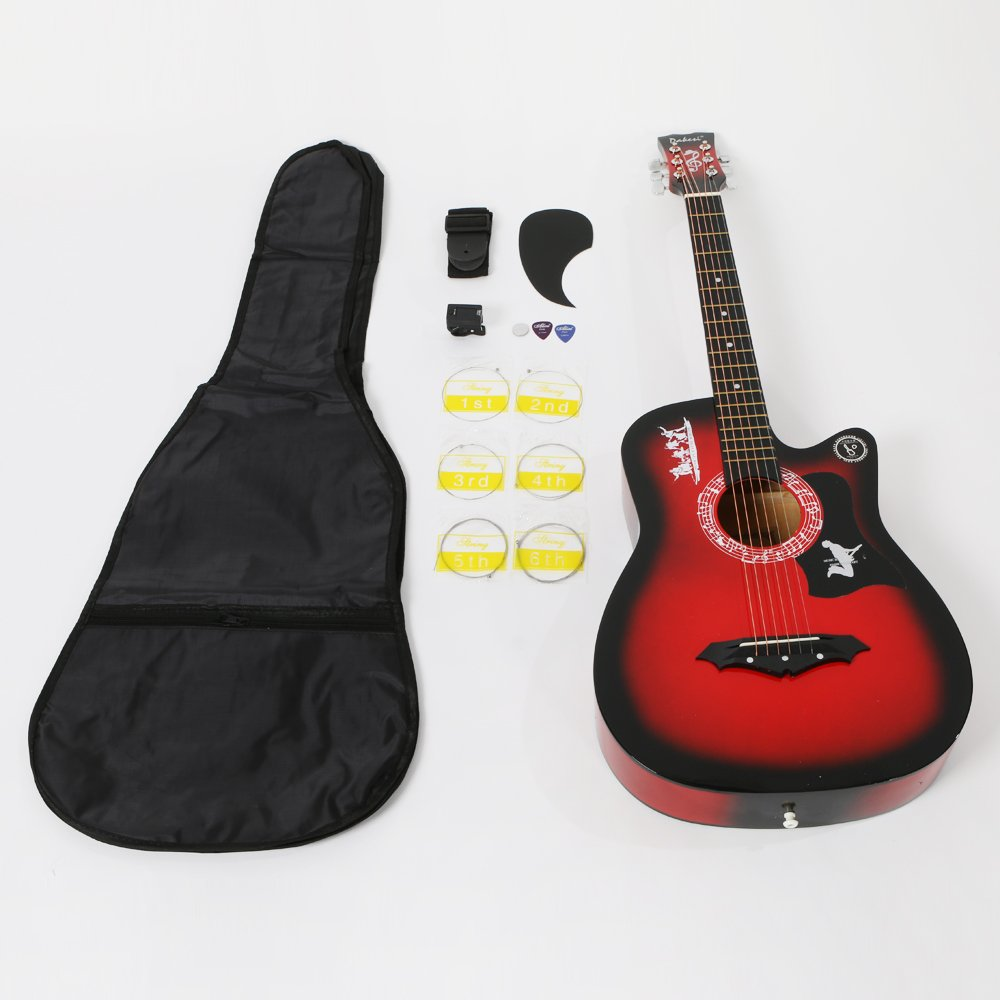 Basswood Cutaway Guitar Set With Bag +Straps+Picks+LCD Tuner+Pickguard+String (Red) Generic