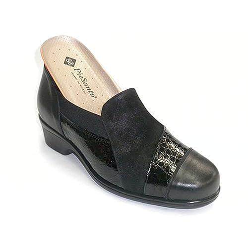 Zapato Mujer Especial para Plantillas Piel y Ante Pie Santo en Negro Talla 37: Amazon.es: Zapatos y complementos