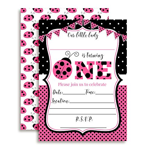 Pink Ladybug First Birthday Party Invitations for Girls, Ten 5