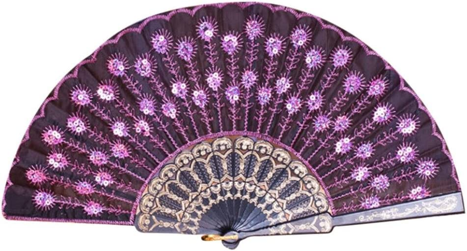 Coohole Chinese Classic Peacock Pattern Folding Hand Held Danc Fan Embroidered Sequin Party Wedding Prom (A)