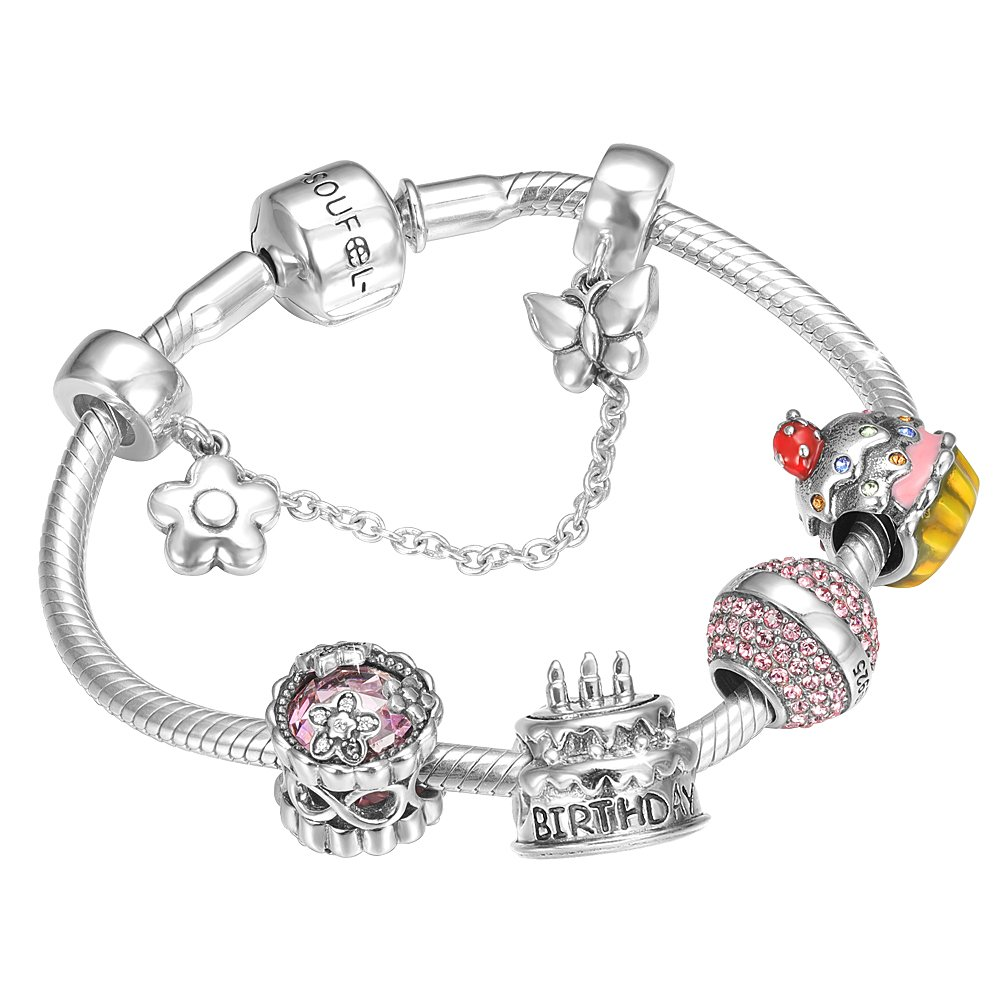 SOUFEEL ''Happy Birthday'' Bracelet 925 Sterling Silver Charm Bracelets 8.3 Inch With Safety Chain Birthday Gift