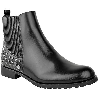 chaussures pour pas cher nouveau style images détaillées Fashion Thirsty Bottines Plates Chelsea - à Clous - Bandes ...