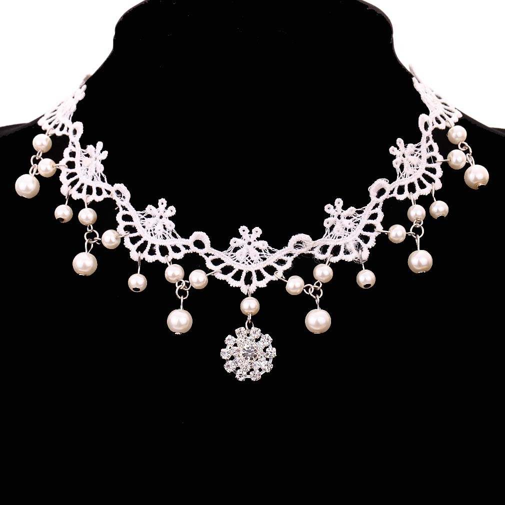 YAZILIND Jewelry White Flower Shape Venetian Pearl Crystal Lace Collar Necklace Wedding Party for Women YAZILIND JEWELRY LTD 1035N0107