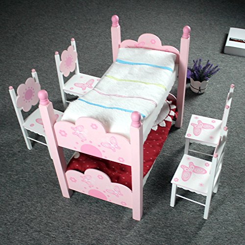 Hoddmimis Wooden Double-decker Toddler Bed Kids Christmas Toys WTB01