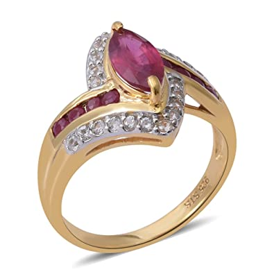 TJC Women 14ct Gold Plated Sterling Silver Ruby and White Zircon Halo Ring Size P jheU1dUv