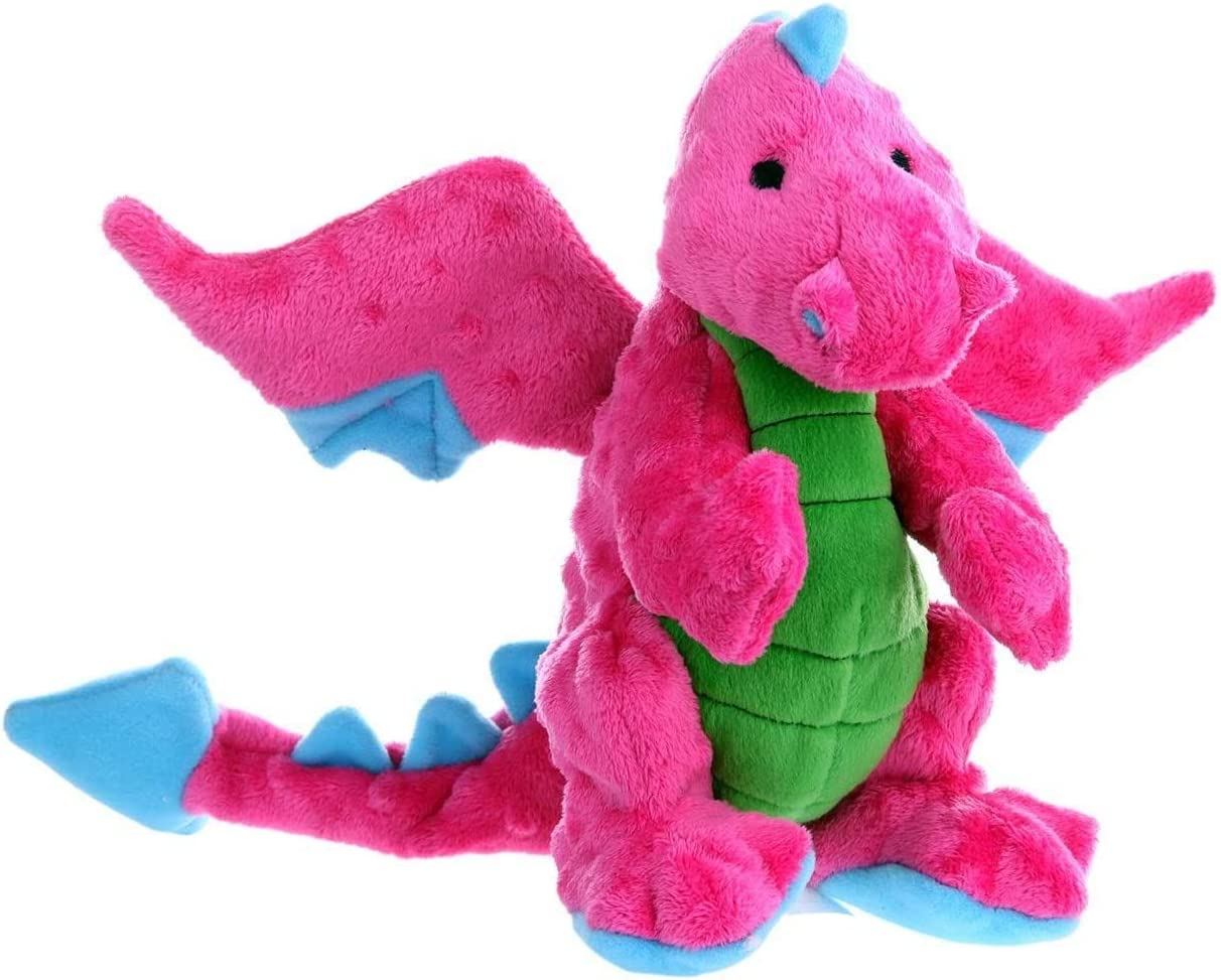 Large goDog Dragon with Chew Guard Technology Tough Plush Dog Toy Pink New Pack