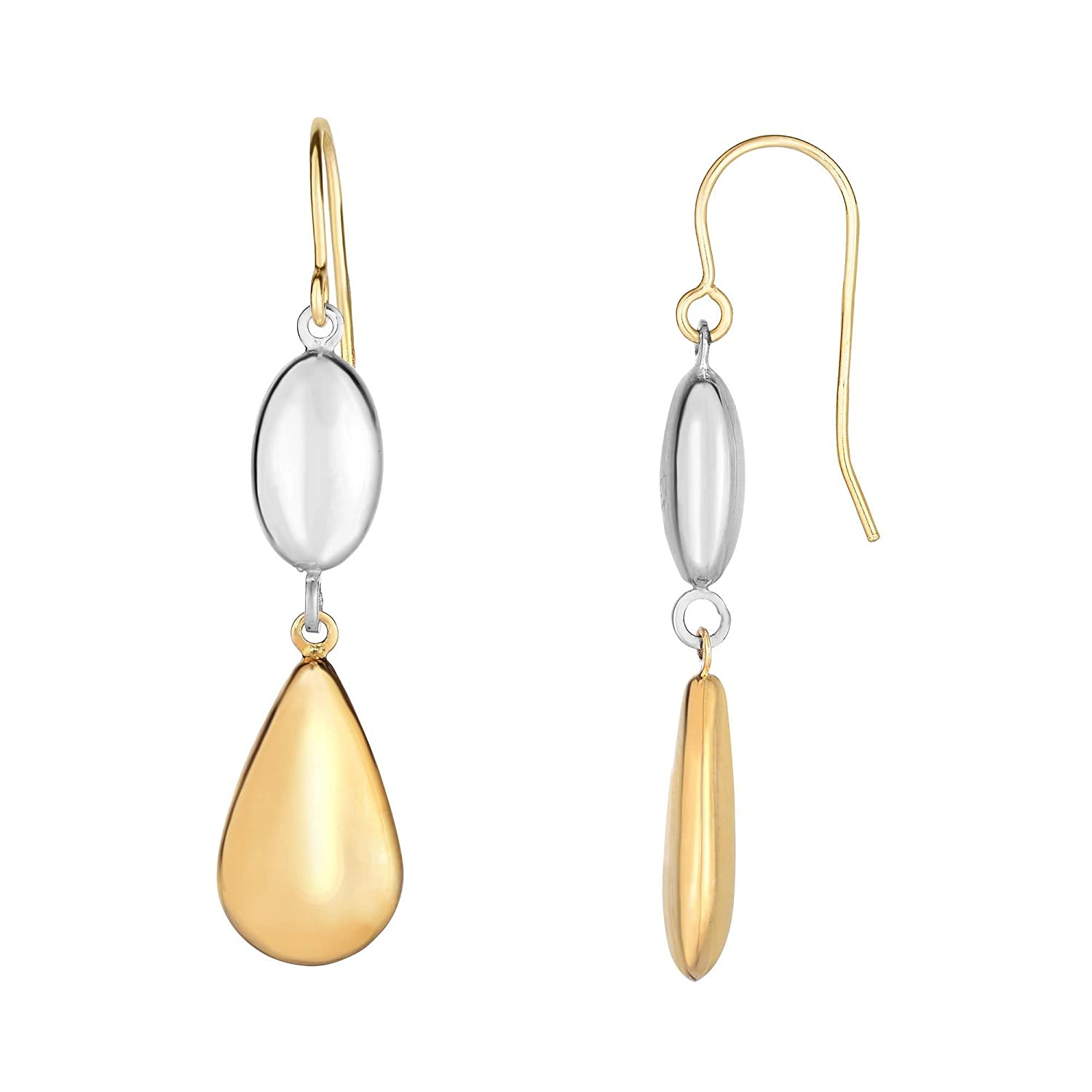 10K Yellow and White Gold 38X8.5mm Shiny White Puffed Marquis Shape+Yellow Puffed Teardrop Drop Earring with Euro Wire Clasp
