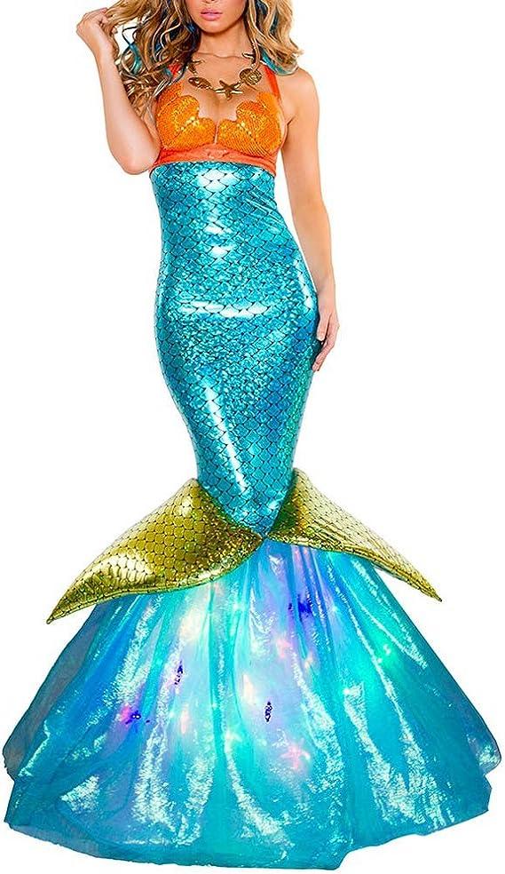 Playa Vestido Cola De Sirena Cosplay Halloween Baile Disfraces Dress para Adultos Mujeres Fiesta De Maquillaje Azul S: Amazon.es: Ropa y accesorios