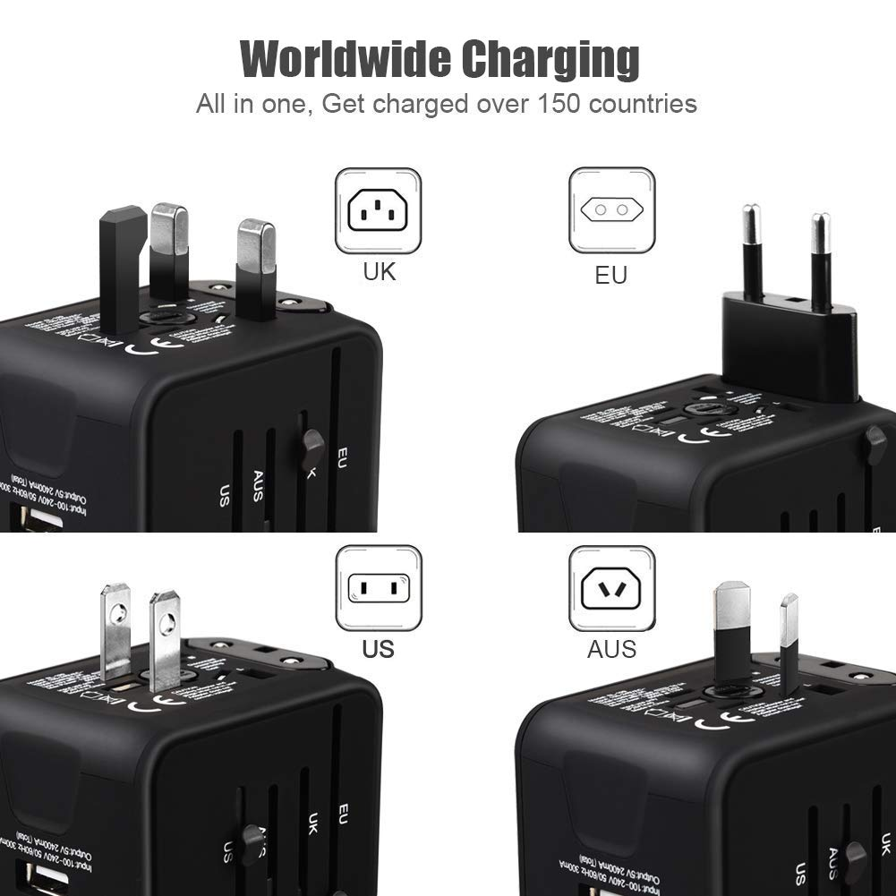 Cable Lighting /& 2 en 1 Cable Micro USB y Tipo C Naranja VGUARD Adaptador Enchufe Ingles de Viaje Universal Cargador Internacional con MAX 2.4A para Americano Europeo UK USA 150 Pa/íses -
