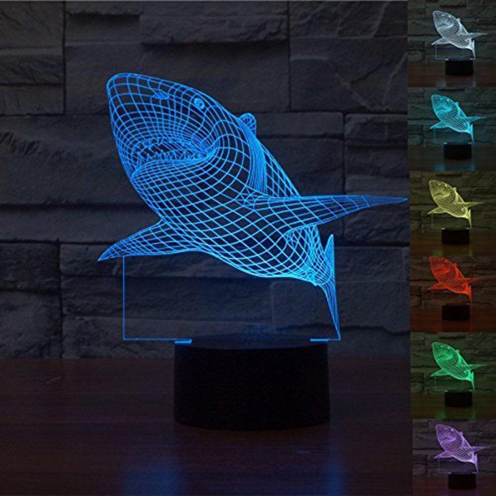 WOlight 3D Shark iLLusion Light 7 Colors Changing Table Desk Deco Lamp Bedroom Children Room Decorative Night Light(Shark)