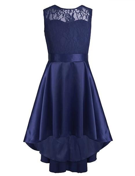 iEFiEL Vestido de Princesa Boda Fiesta Bautizo para Niña Vestido de Encaje Floreado Chica 7 Colores