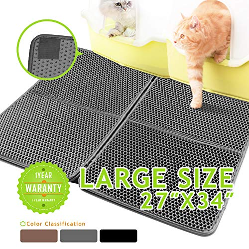 Niubya Double Layer Cat Litter Mat with Honeycomb Design, Extra Large 27x34 Inches, Waterproof EVA Foam Rubber for Cat Litter Box, Spliced by Self-Adhesive Hook&Loop Tapes, Grey (One Piece Litter Box)
