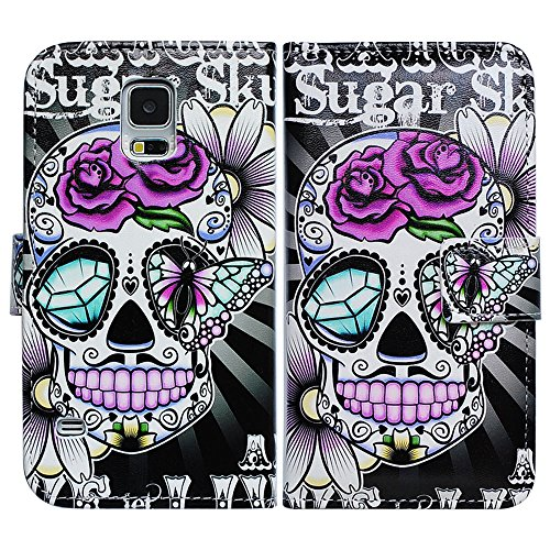 Bfun Packing Purple Flower Skull Card Slot Wallet Leather Case Cover For Samsung Galaxy ()