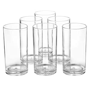 Classic Plastic Tumblers 20-ounce Drinking Cups Dishwasher Safe BPA-free Premium Quality Clear set of 6 Everyday Dinner Glasses