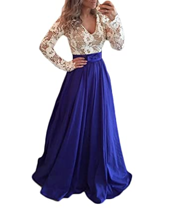 Z Sexy V Neck Backless A Line Prom Dresses Long Sleeves Appliques Lace Evening