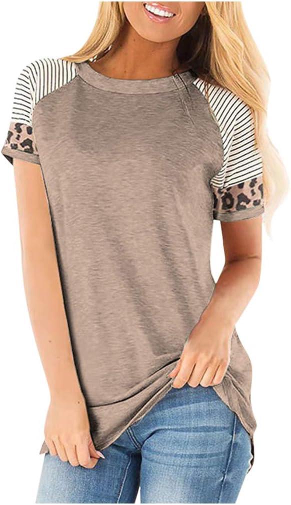 Bazahy Women Casual Loose Comfy Leopard Stripe Short Sleeve Tunics Tops Short Summer Blouse T Shirt