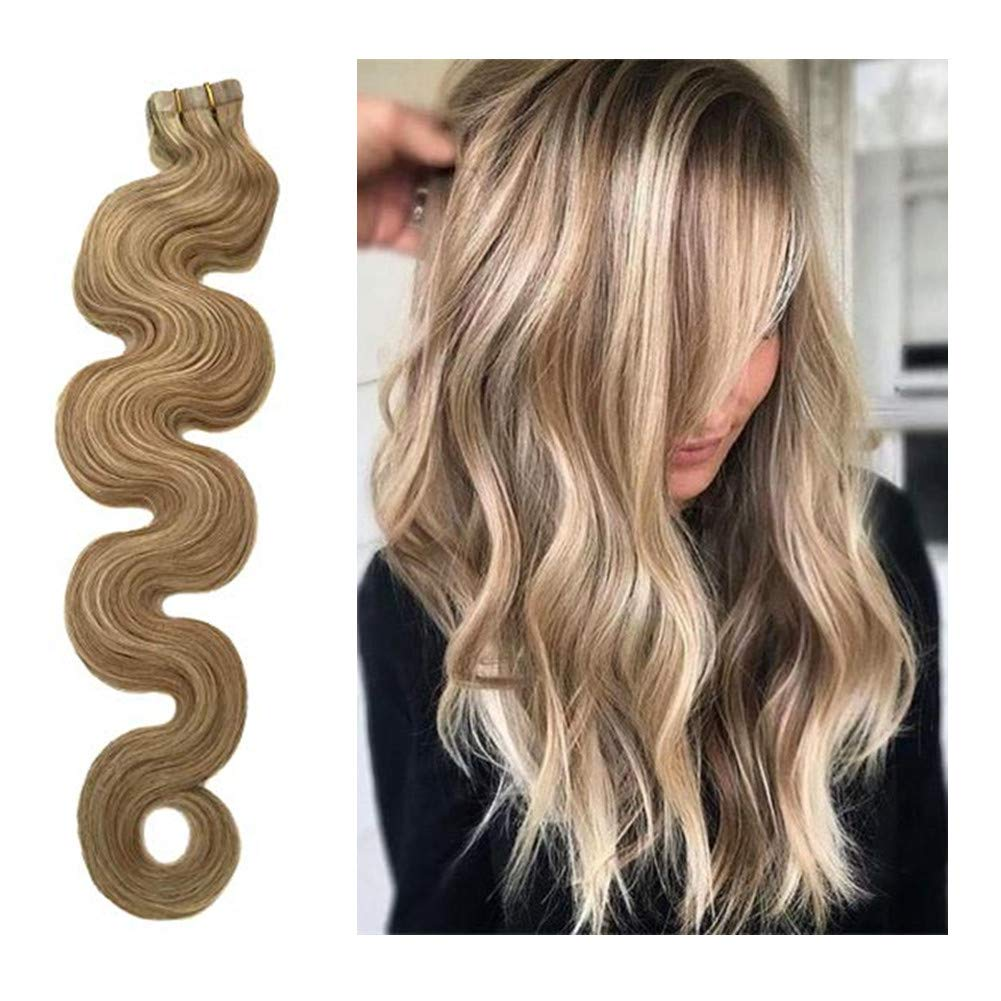 Biena Body Wave Human Hair Tape in Extensions #18/613 Dirty Blonde with Blonde Highlights Remy Human Hair Wavy Seamless Skin Weft Glue in Extensions 18 Inches by Biena