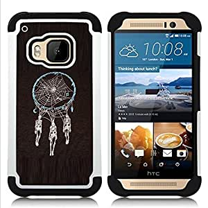 Jordan Colourful Shop - Dream Catcher Death Skull Indian Spider For HTC ONE M9 - < Llevar protecci????n de goma del cuero cromado mate PC spigen > -