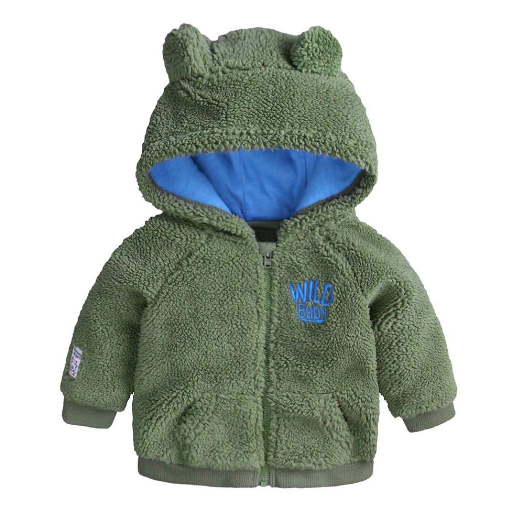 0cb3d30c7218 Amazon.com  Easytoy Newborn Baby Kids Infant Boys Girl Cartoon Ear Hooded  Zip Up Tops Winter Warm Coat Cloak Jackets Clothes  Home   Kitchen