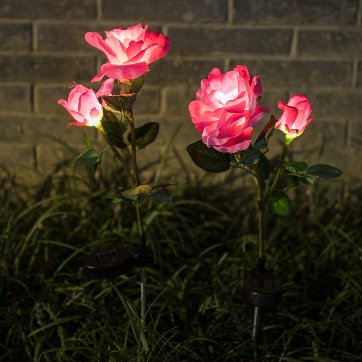 WED Outdoor Solar Garden Stake Lights, 2 Pack Solar Powered Lights with 4 Rose Flower, LED Solar Decorative Lights for Garden Patio Backyard Patio Pathway Backyard Decoration(Pink)