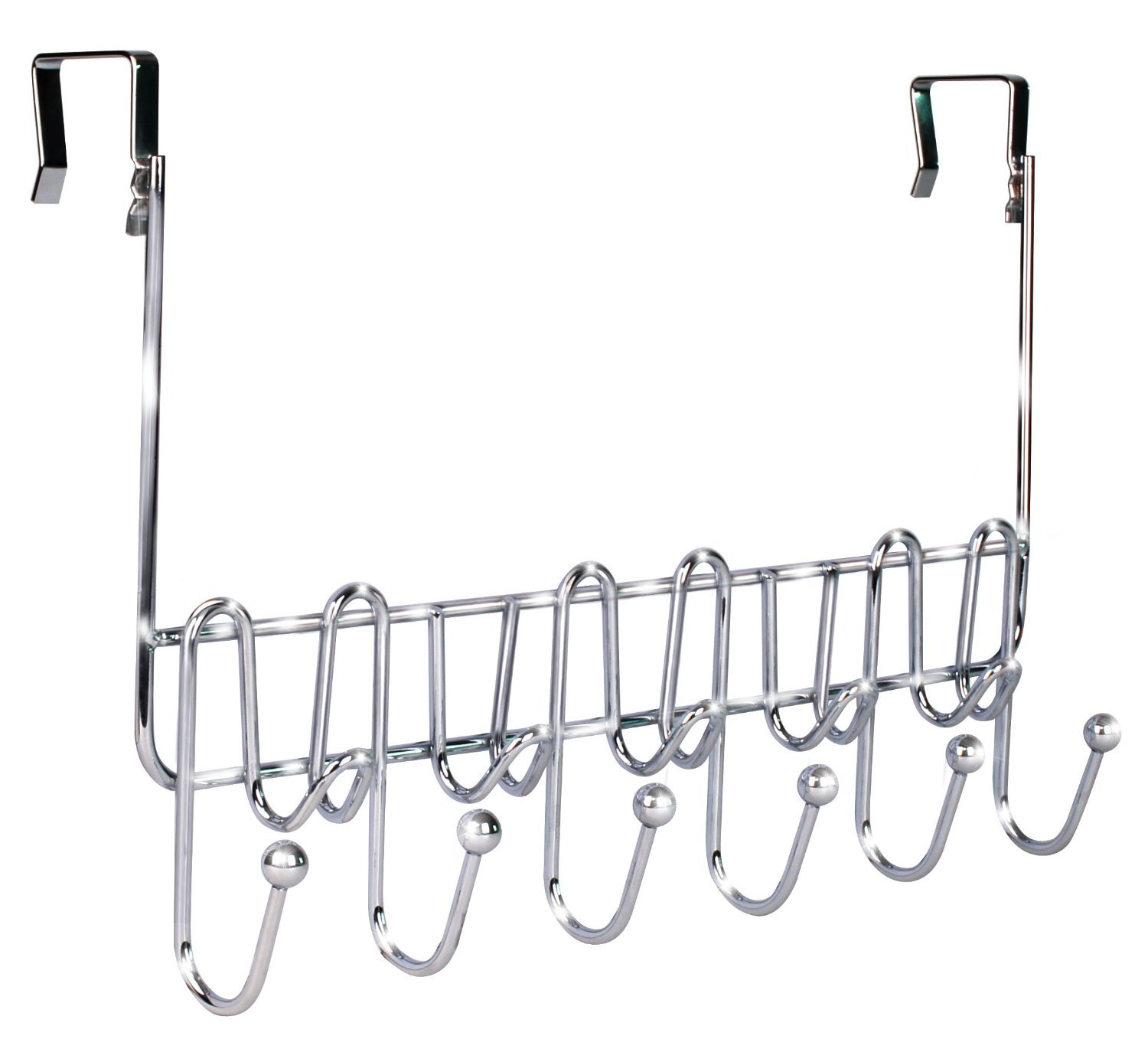 DecoBros Supreme Over The Door 11 Hook Organizer Rack, Chrome Finish Deco Brothers HK-002-1