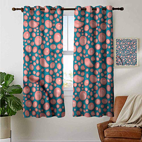 """petpany Customized Curtains Pale Pink,Splash of Bubblegum,Blackout Thermal Insulated,Grommet Curtain Panel 1 Pair 42""""x72"""""""