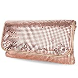 expouch Women's Bling Clutch Handbag Aluminum Metal Mesh Evening Bag with Detachable Chain Shoulder Strap for Cocktail Party Wedding (Rose gold)
