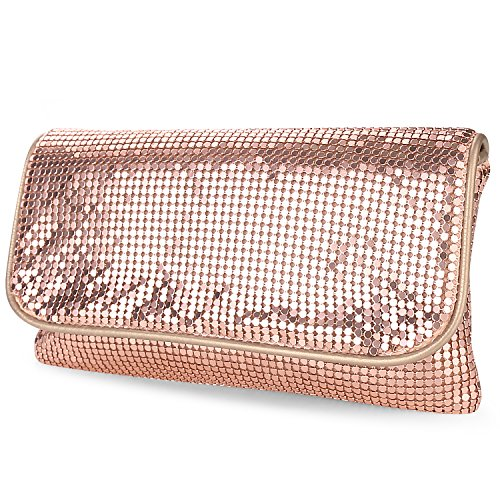 expouch Women's Bling Clutch Handbag Aluminum Metal Mesh Evening Bag with Detachable Chain Shoulder Strap for Cocktail Party Wedding