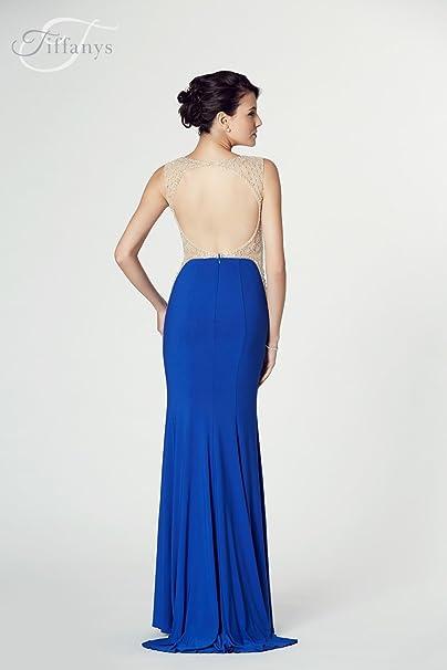 Tiffanys Illusion Prom Black Mila Jersey Open Back Gown UK 14 (US 10): Amazon.co.uk: Clothing