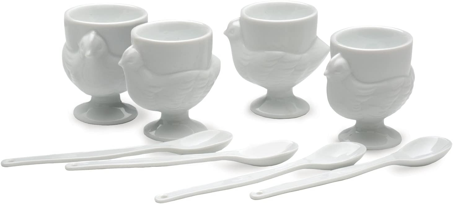 RSVP Porcelain Egg Cups and Spoons, Set of 4