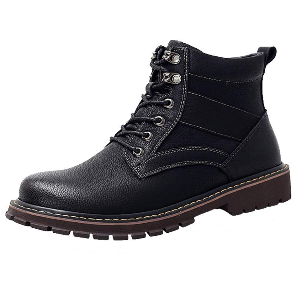TRULAND Mens Leather Lace Up Ankle Boots/Military Motorcycle Combat Style Autumn Winter Textile//Fur Lining