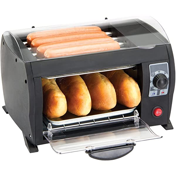 Hot Dog Roller and Toaster Oven Sausage Maker Cooker Machine With Bun Warmer