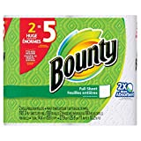 Bounty Paper Towels, White, 2 Huge Rolls Equal-To 5 Regular-Roll, 2-Count