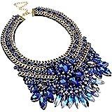 Fashion Gold Tone Chain Blue Glass Crystal Charm Collar Choker Statement Bib Necklace