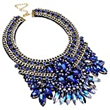 Fashion Gold Tone Chain Blue Glass Crystal Charm Collar Choker Statement Bib Necklace