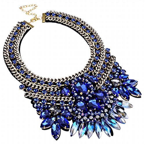 Fashion Gold Tone Chain Blue Glass Crystal Charm Collar Choker Statement Bib ()