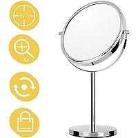 Maycho 8 '' Miroir Grossissant Miroir de Maquillage Double-Face Grossissement 1/3x Miroir sur Pied Chrome