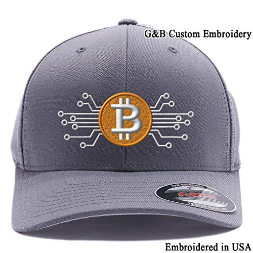 BitCoin Cap Bitcoin Digital Currency. Embroidered 6477 Flexfit Hat. (L/XL, Dark Grey)