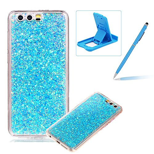 Price comparison product image Rubber TPU Case For Huawei Honor 9,Herzzer Slim Lightweight Color Changing Glittering Luxury Unique [Blue Sequins] Bling Shiny Sparkle Soft Gel Clear Bumper Frame Cover for Huawei Honor 9