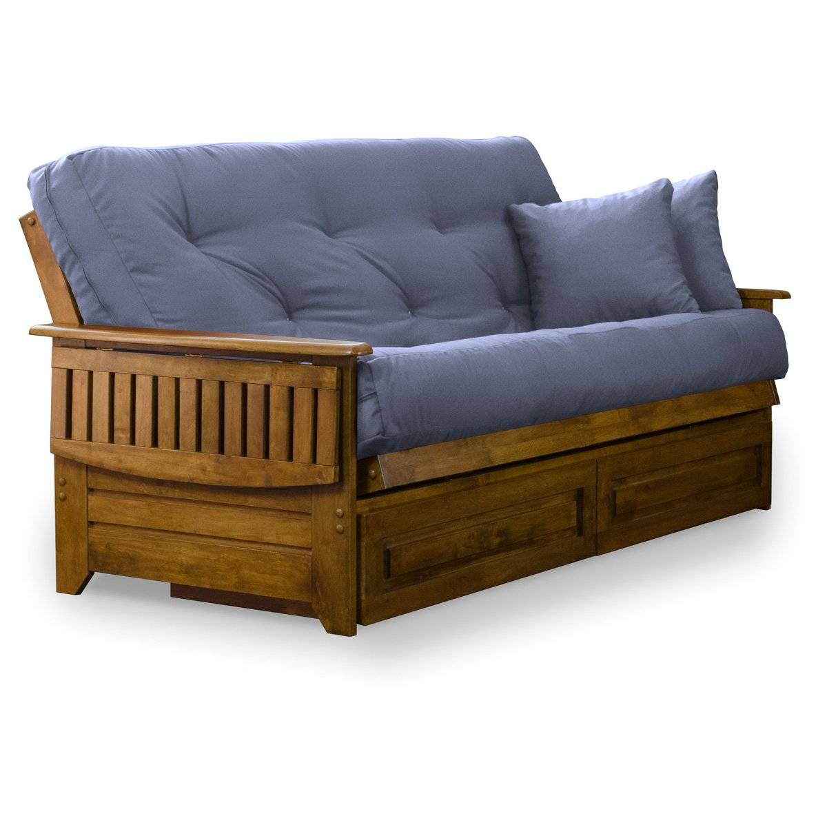 Brentwood Tray Arm Full Size Wood Futon Frame and Storage Drawers - Heritage Finish by Nirvana Futons