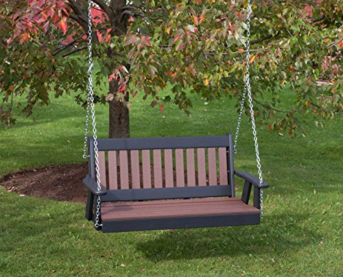5FT-CEDAR-POLY LUMBER Mission Porch Swing Heavy Duty EVERLASTING PolyTuf HDPE – MADE IN USA – AMISH CRAFTED For Sale