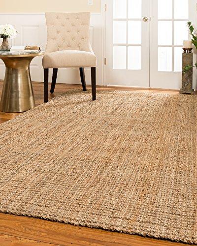 NaturalAreaRugs Calvin Natural Jute Fiber Area Rug, Handmade, 100% Jute, Anti-Static, Durable, Stain Resistant, (6'x9') (Seagrass Sisal Rug)