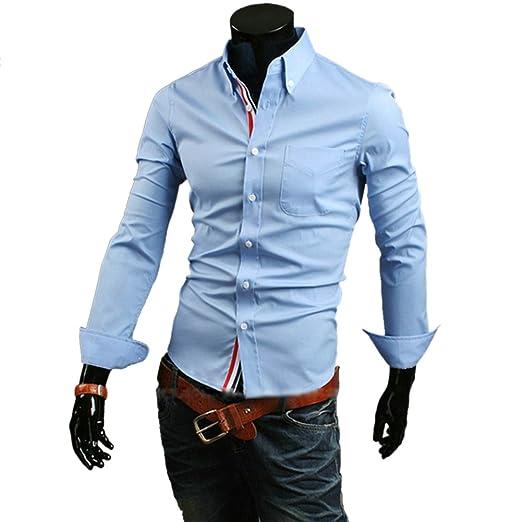239e82860 Zehui Mens Stylish Casual Fit Shirt Long Sleeve Button Front Light ...