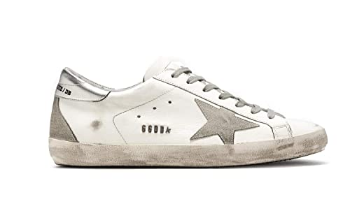 Golden Goose Hombre Gcoms590w77 Plata/Blanco Cuero Zapatillas: Amazon.es: Zapatos y complementos