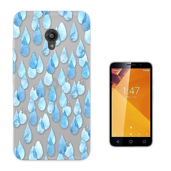 c01379 - Blue Rain Drops Design Vodafone Smart Turbo 7 Fashion Trend CASE Gel Rubber Silicone