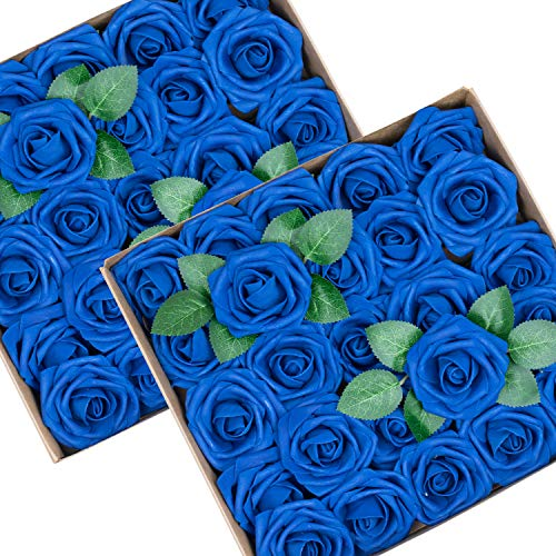 Royal Blue Centerpiece Ideas (Foraineam 50pcs Artificial Roses Flower Real Looking Foam Rose Fake Flowers with Stem & Leaves for DIY Wedding Bouquets Centerpieces Party Home Decorations (Royal)