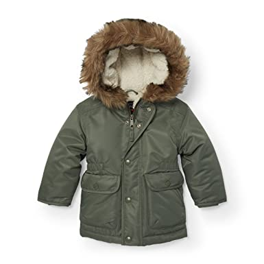 2a6ef6314 The Children's Place Baby Faux Fur Lined Parka Jacket 1, green agate, 12-